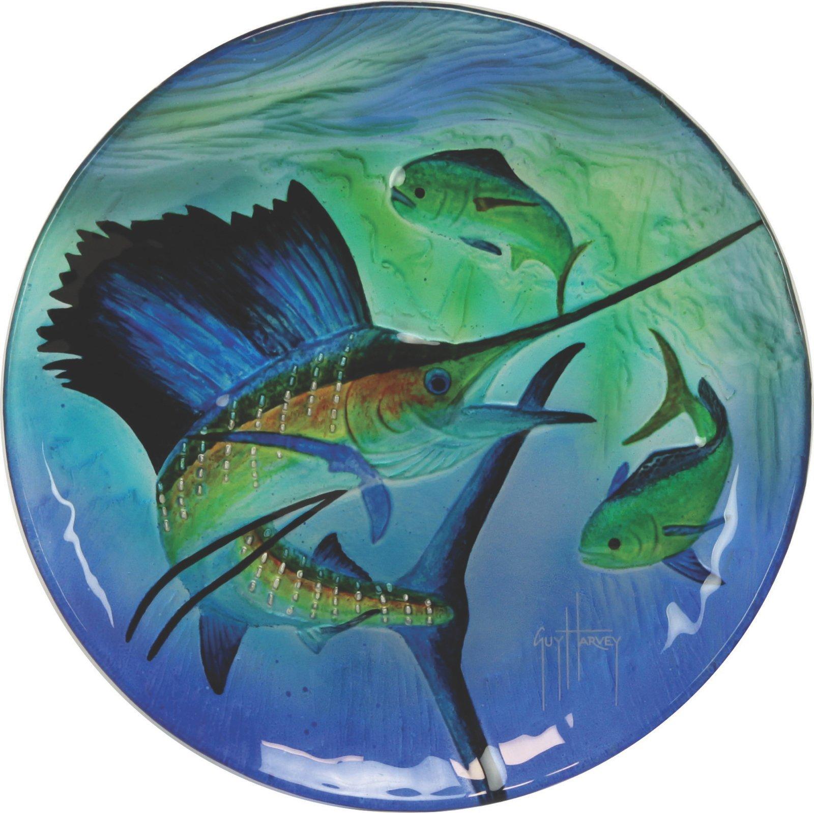 River's Edge Guy Harvey Sailfish Glass Platter, 12''