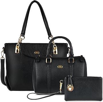 bolsos de las señoras bolso negro coofit bolso de hombro de cuero de la pu bolso de mano grande asas bolso para mujer conjunto de bolsos 3pcs bolso de