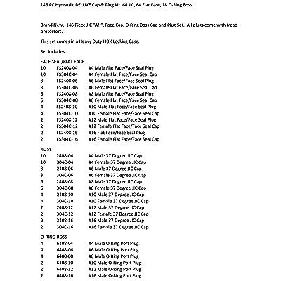 18 O-Ring Boss. 64 Flat Face 64 JIC 146 PC Hydraulic DELUXE Cap /& Plug Kit