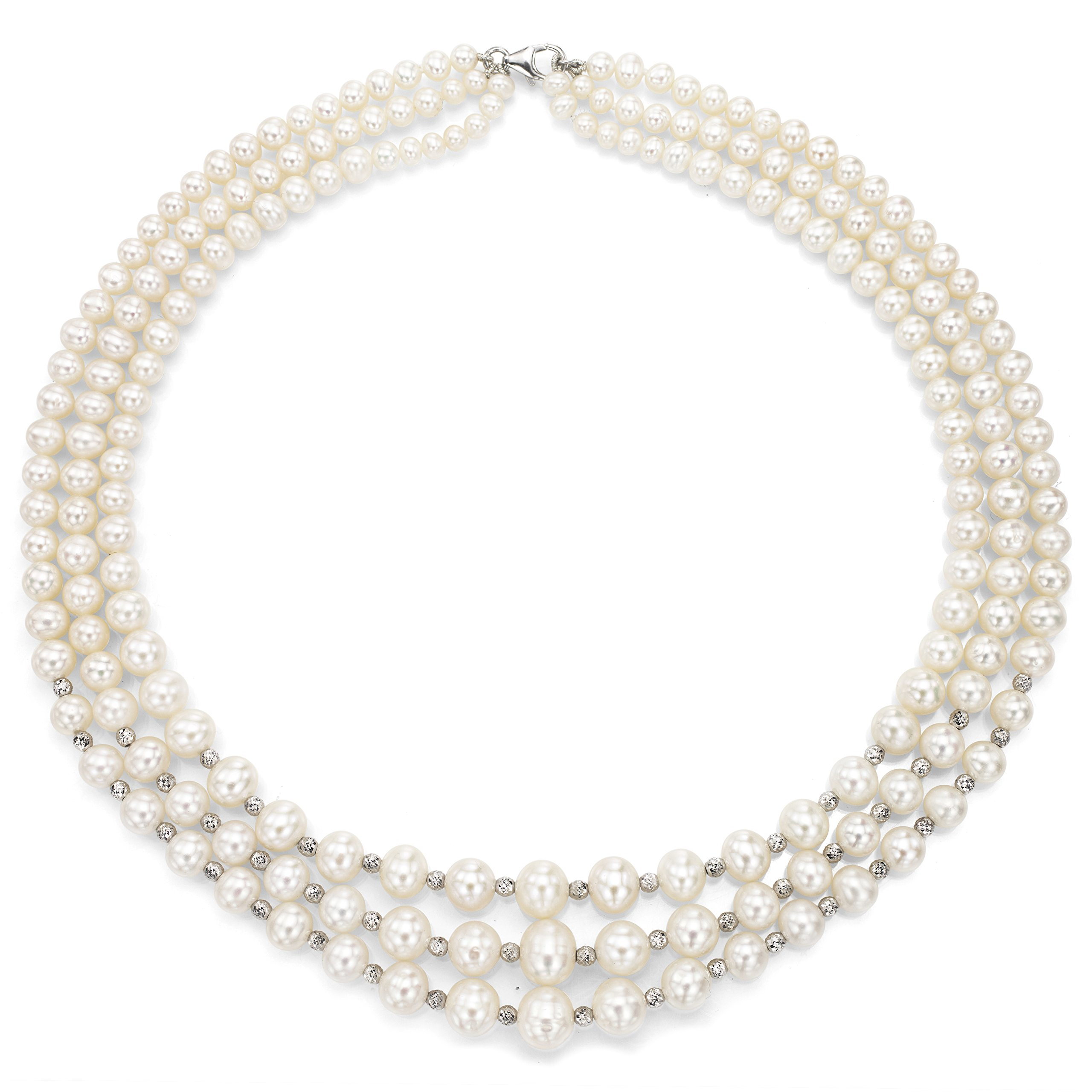 Sterling Silver Graduated 4-8.5mm White Freshwater Cultured Pearl Lobster-claw Clasp Necklace, 16''
