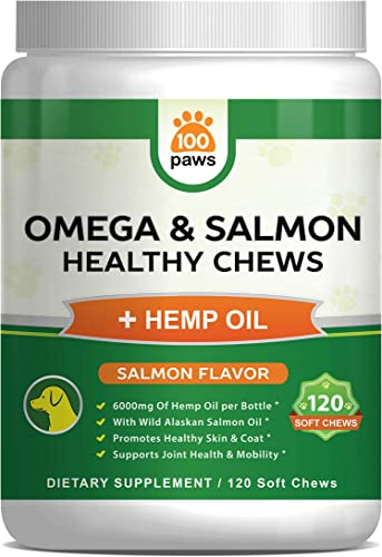 Salmon Oil for Dogs - Omega 3 Fish Oil Hemp Oil for Dogs - Wild Alaskan Fish Oil Dog Treats Chews Supplement w Omega 3 6 9 DHA EPA - Pet Itch Skin Coat Allergy Support - 120 Bites