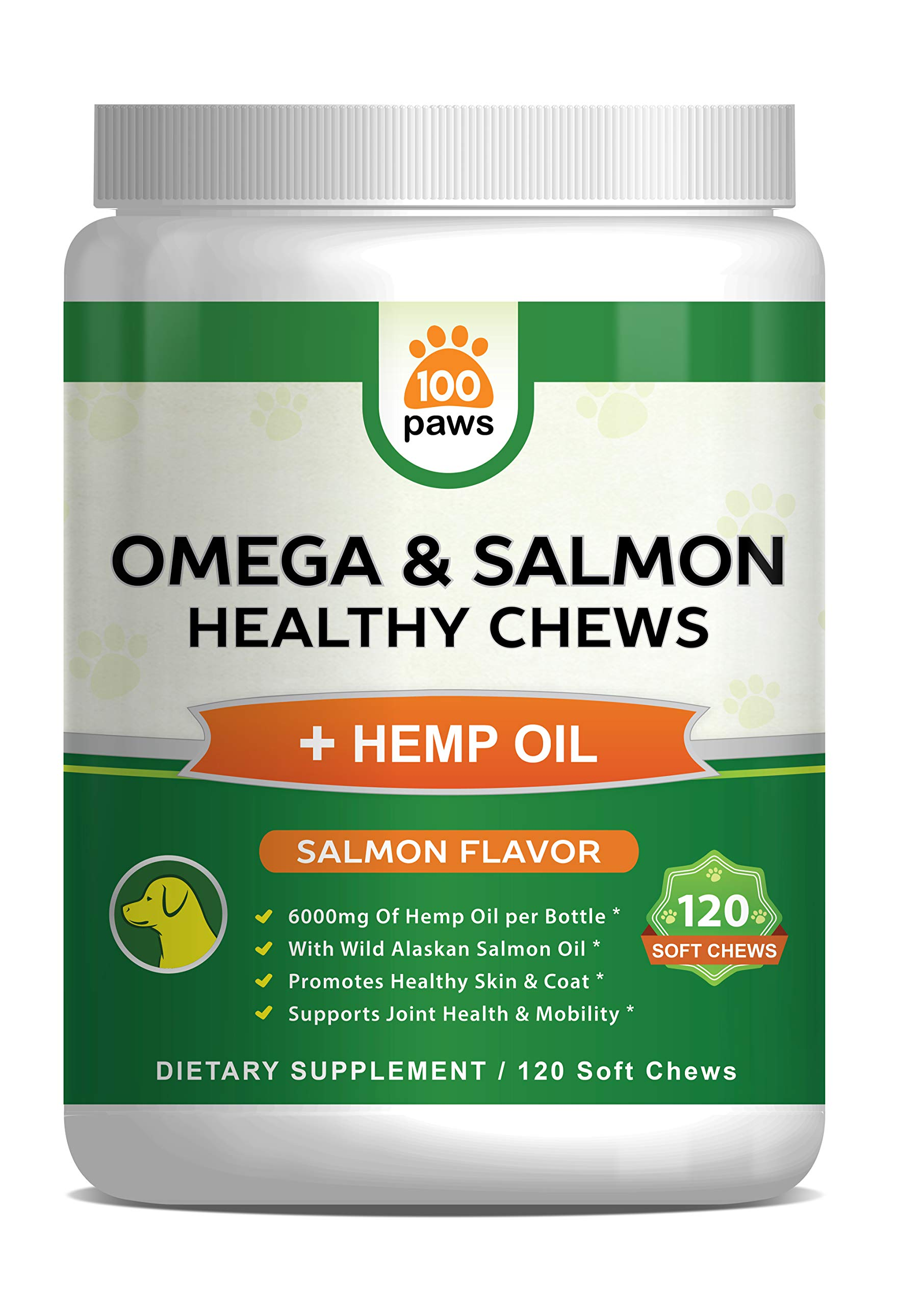 Salmon Oil for Dogs - Omega 3 Fish Oil & Hemp Oil for Dogs - Wild Alaskan Fish Oil Dog Treats Chews Supplement w/Omega 3 6 9 & DHA EPA - Pet Itch Skin & Coat & Allergy Support - 120 Bites by 100 Paws