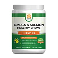 Salmon Oil for Dogs - Omega 3 Fish Oil & Hemp Oil for Dogs - Wild Alaskan Fish Oil Dog Treats Chews Supplement w/Omega 3 6 9 & DHA EPA - Pet Itch Skin & Coat & Allergy Support - 120 Bites