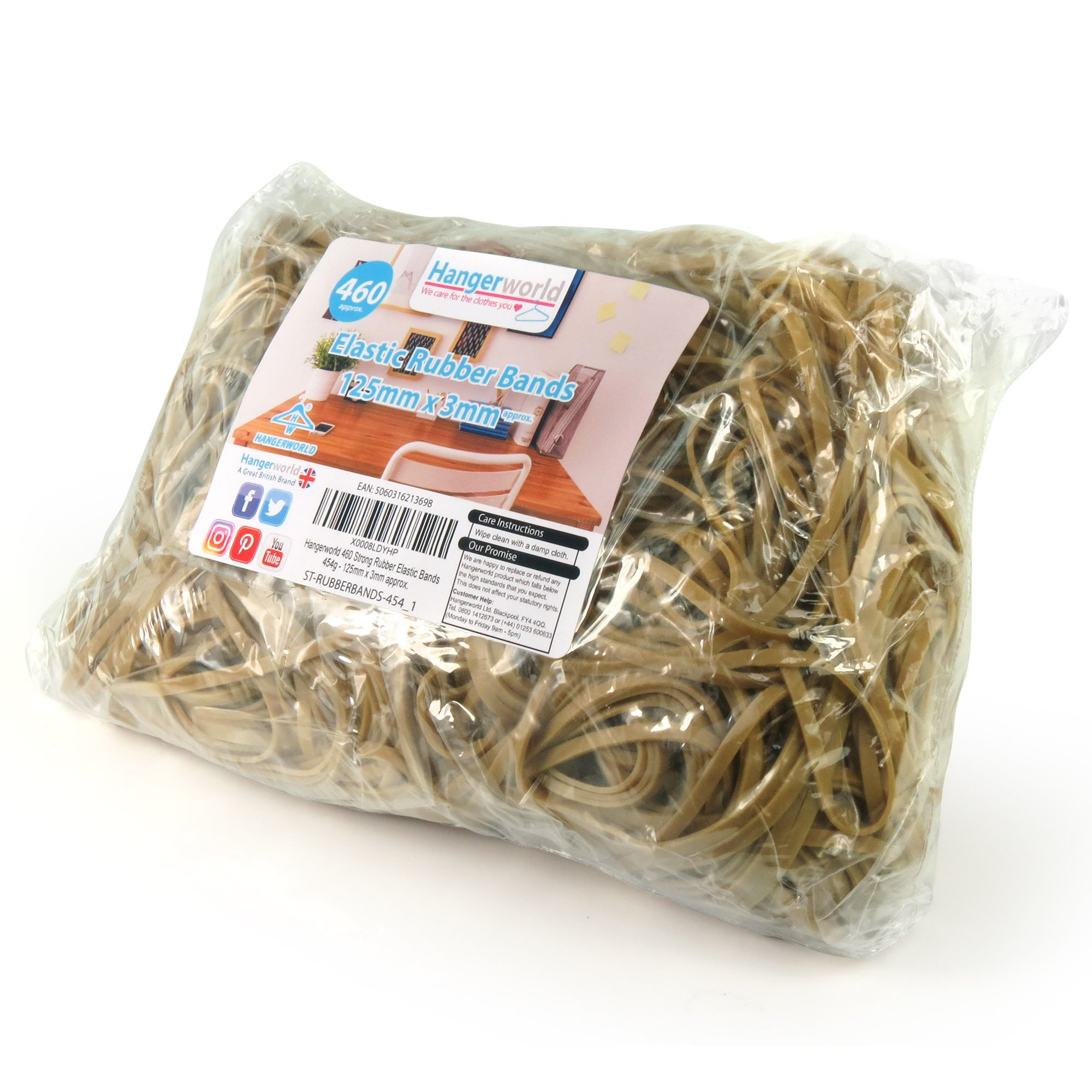 Hangerworld 460 Strong Rubber Elastic Bands No 36 - 454g For Use in School, Office, Home etc.