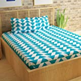 Story@Home Cotton Double Bed Sheet with 2 Pillow Covers Set, Candy Queen Size Bedsheet Series, 120 TC, Geometic Triangles Pattern, Aqua Blue and White