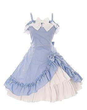 Kawaii-Story JL de 663 – 3 Color Azul Claro Blanco Volantes Lazo Tirantes Vestido