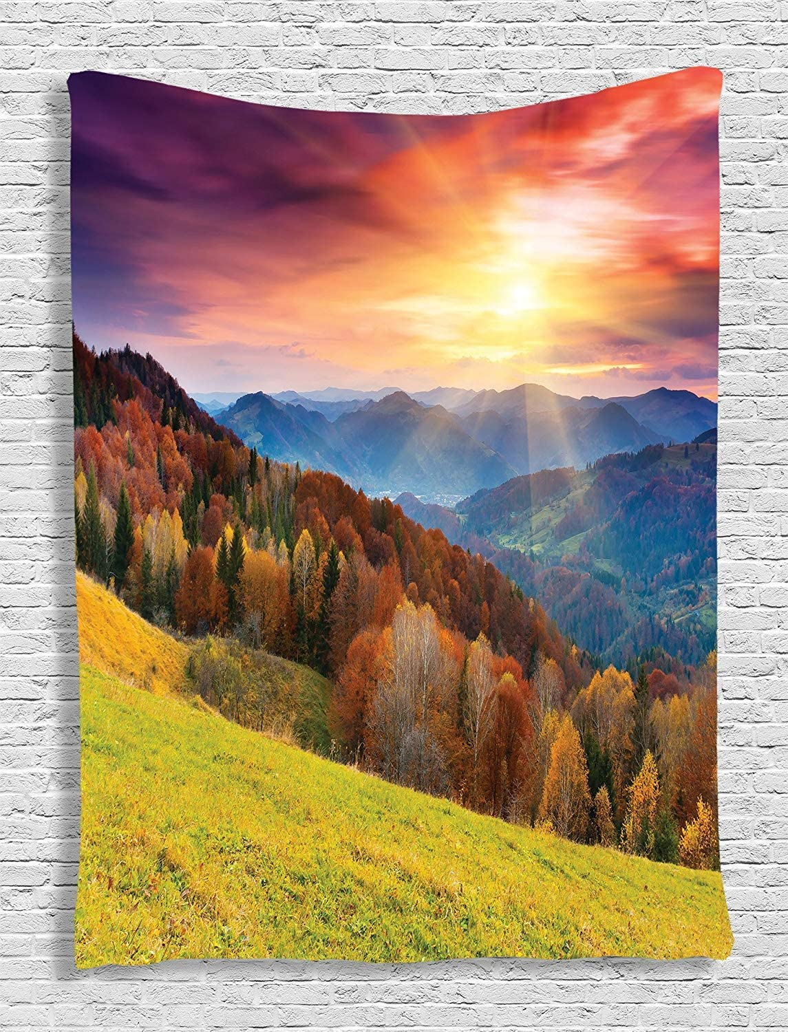 Ambesonne Nature Tapestry, Mountains in Autumn Theme Landscape and Vibrant Sunset Photography Print, Wall Hanging for Bedroom Living Room Dorm Decor, 60
