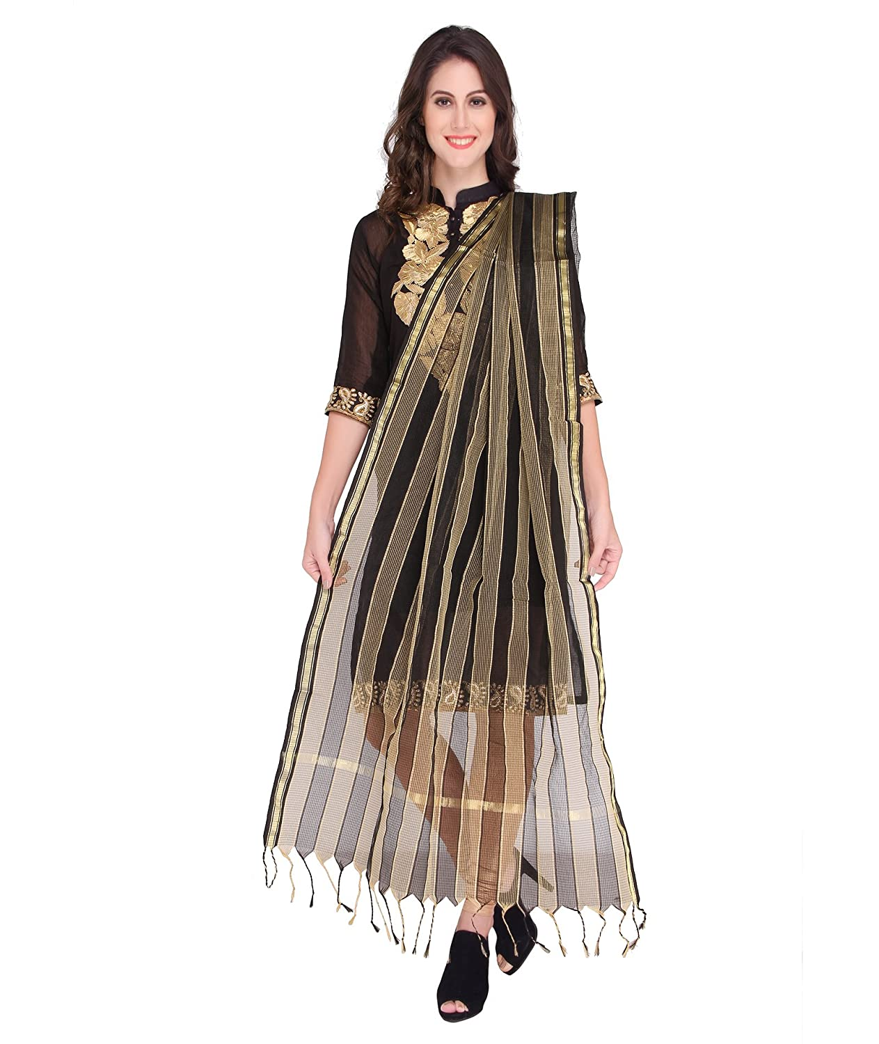 Gold Striped Dupatta DB0942