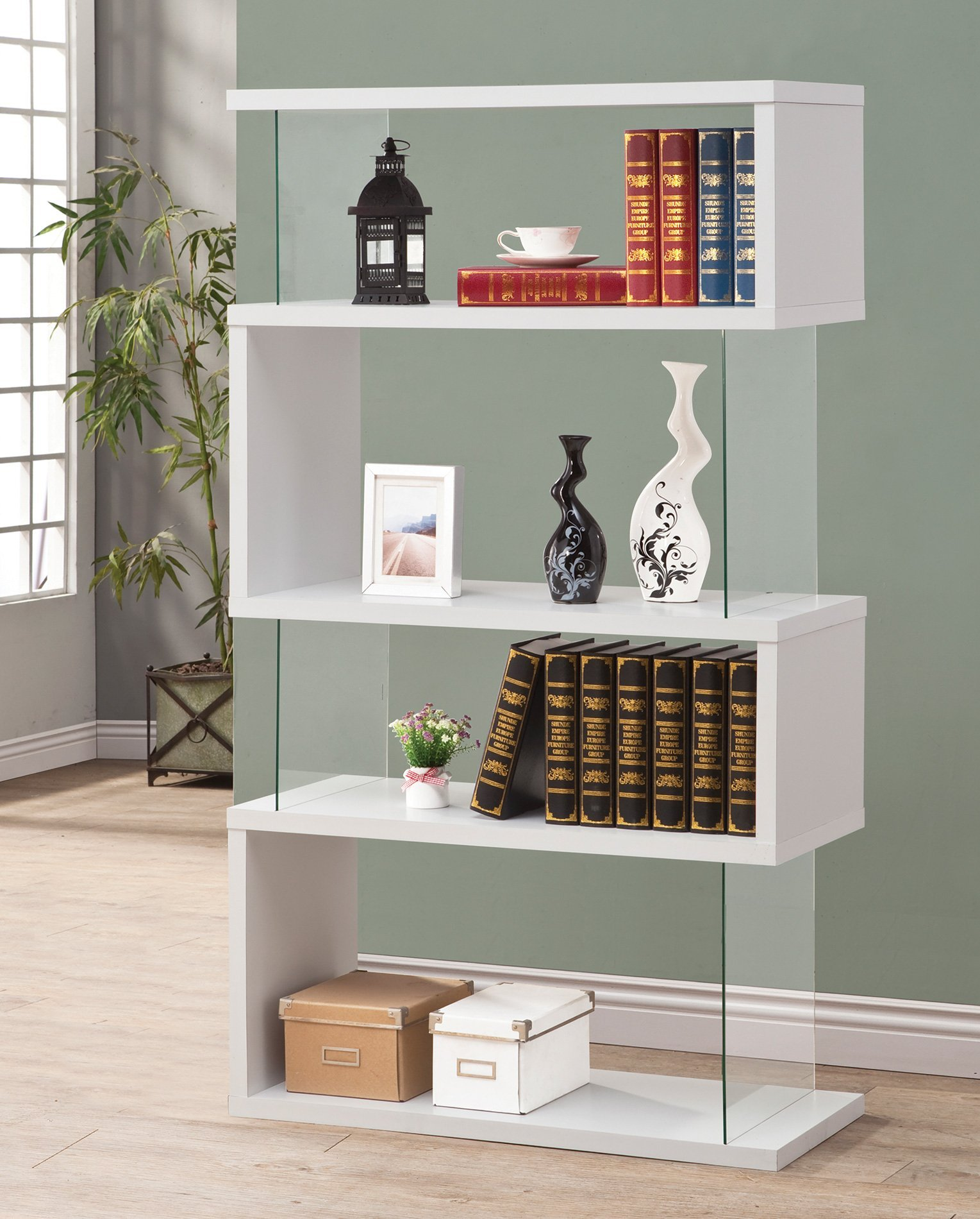 Asymmetrical Snaking Bookcase White Glossy and Clear by Coaster Home Furnishings