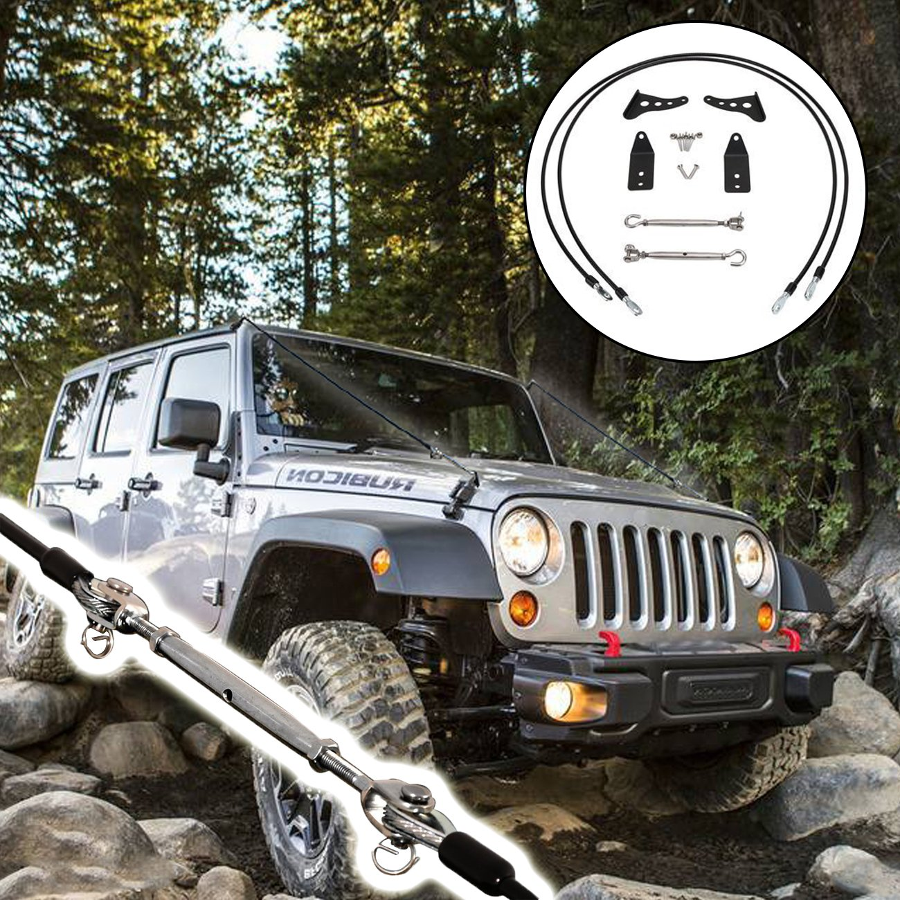 Limb Risers Kit (for JK Jeep Wrangler 2007-2017) | Through the jungle Protector, Obstacle Eliminate Rope BuyInHouse