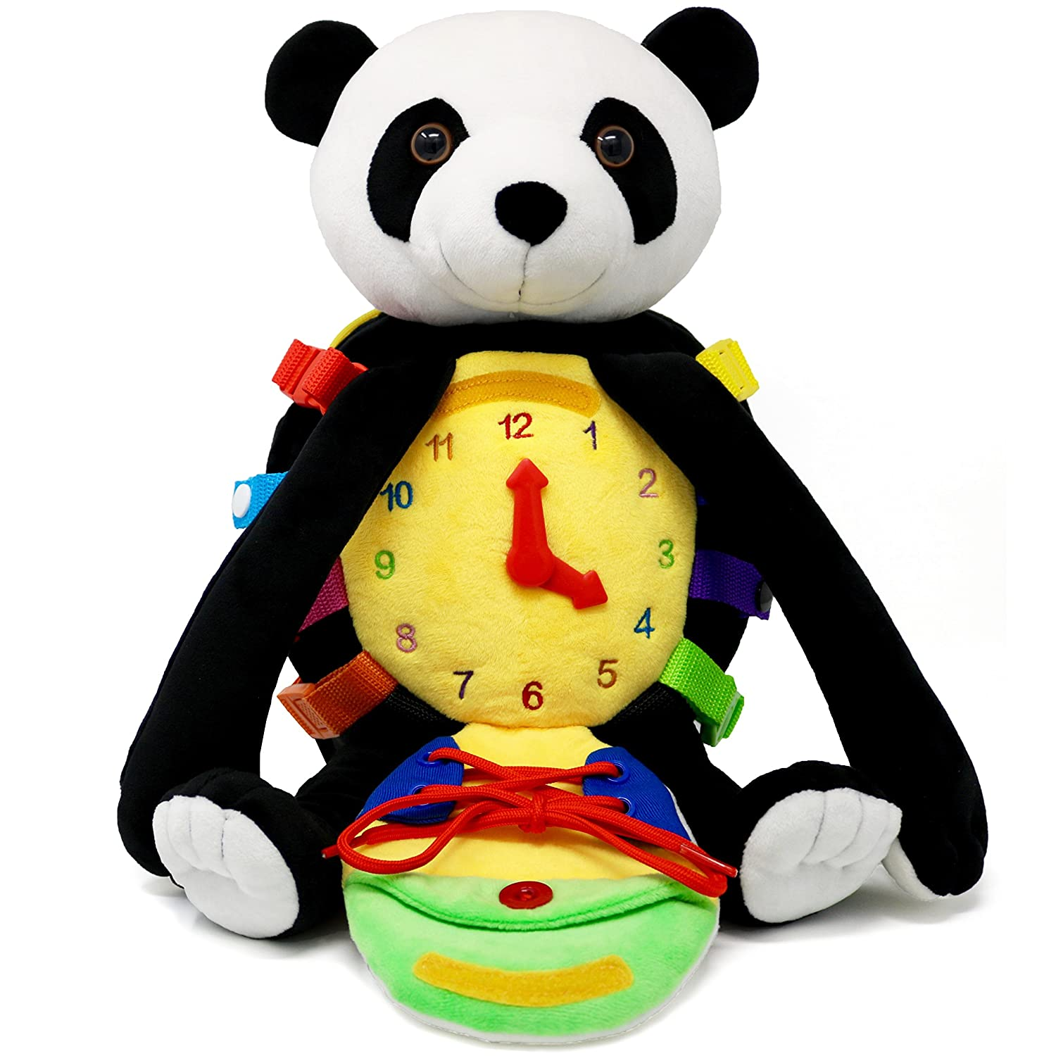 "BUCKLE TOY ""Bamboo"" Backpack Panda – Toddler Life Skills Plush Travel Activity. Learn to Snap, Zip, Button, Tell Time, Tie Shoes and more"