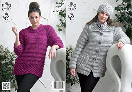 36a28518c King Cole Ladies Super Chunky Knitting Pattern Womens Stripe Effect Jacket  Sweater   Hat 3816  Amazon.co.uk  Kitchen   Home
