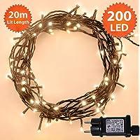 Luces de hadas de Navidad 200 LED cálido blanco árbol de interior y al aire libre uso de cadena de Navidad con función de memoria, hadas alimentadas de red 20m/66ft iluminado longitud cable verde