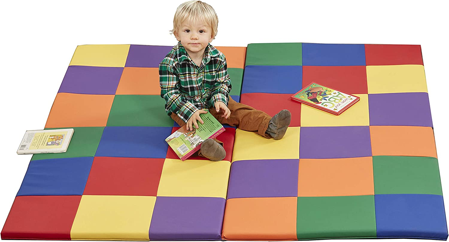 ECR4Kids Softzone Patchwork Toddler Foam Play Mat, 58-Inch Square, Floor Mats For Tummy Time, Colorful Baby Play Mat, Soft Floor Mat for School Or Daycare, Baby Play Mat, Padded Rug, Primary Colors: Industrial & Scientific