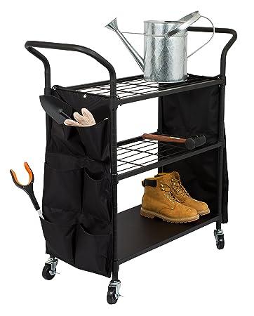 Superior Internetu0027s Best Garden Tool Utility Cart | Flat Black | 3 Tier Shelving Cart  With Locking