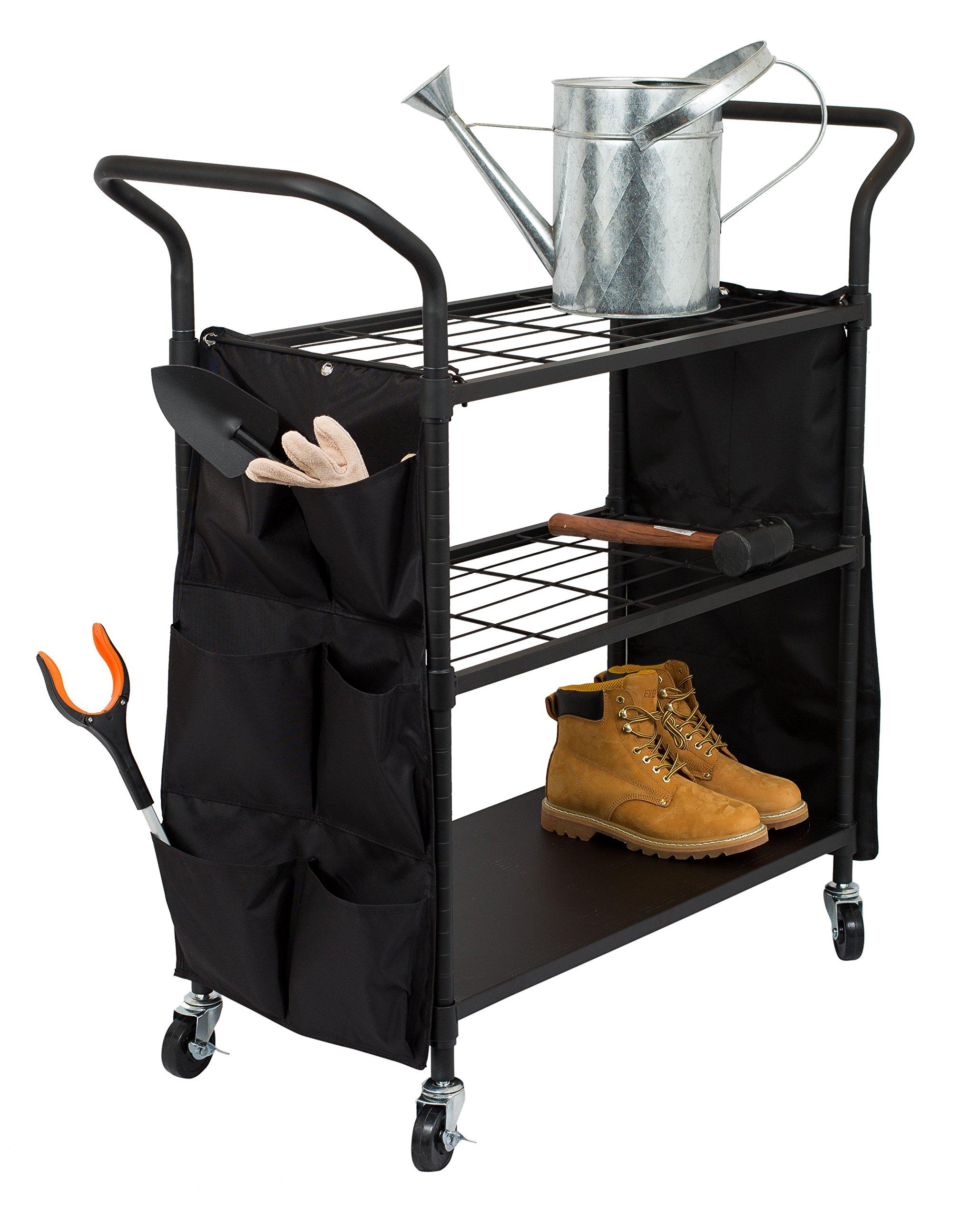Internet's Best Garden Tool Utility Cart | Flat Black | 3 Tier Shelving Cart with Locking Wheels | Rolling Cart for Garden Garage Office | 12 Storage Pockets