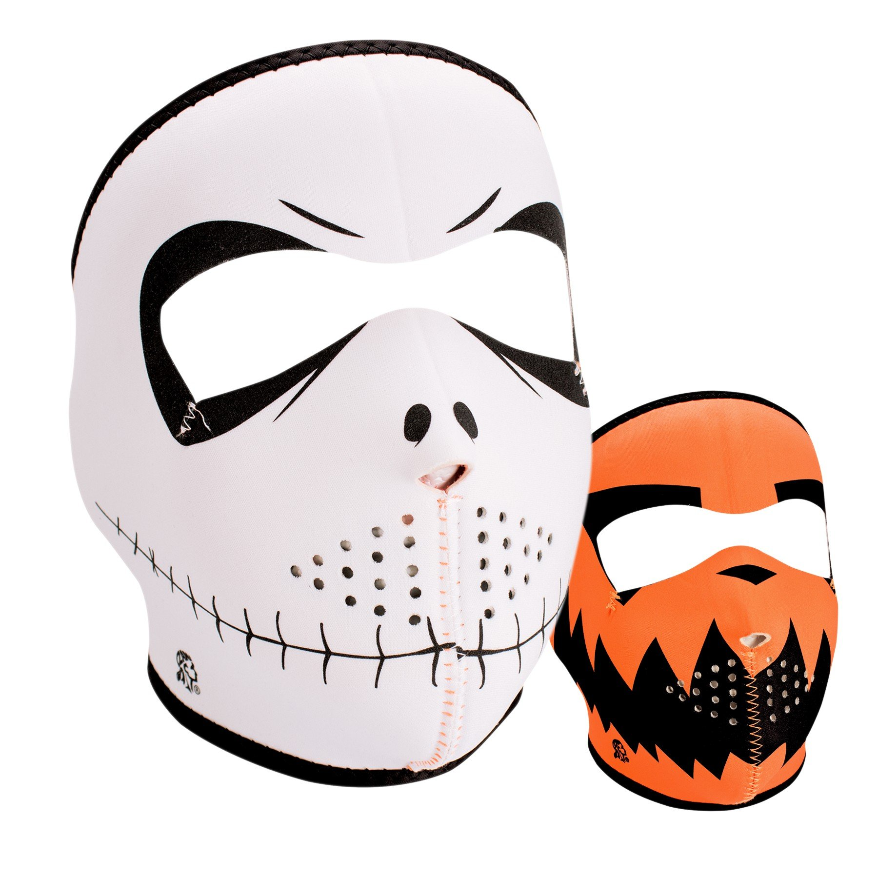 Zanheadgear WNFM096 Neoprene Full Face Mask, Skelly Reverses to Pumpkin