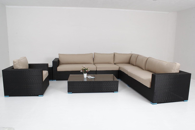 Muebles al aire libre Patio sofá 8 piezas Juego de seccional mesa ...
