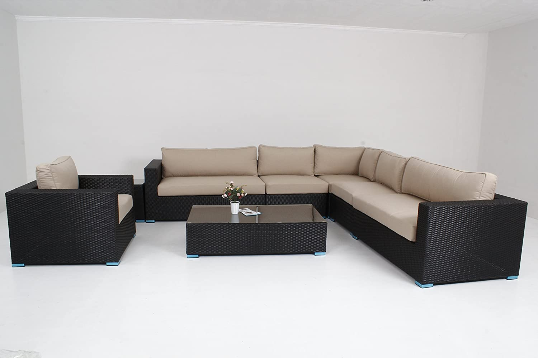 Amazon.com : Outdoor Furniture Patio Sofa 8 Piece Sectional Coffee ...