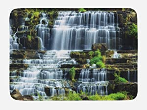 Ambesonne Rainforest Bath Mat, Waterfall in The Middle of Tropical Jungle Natural Scenery Countryside Style, Plush Bathroom Decor Mat with Non Slip Backing, 29.5