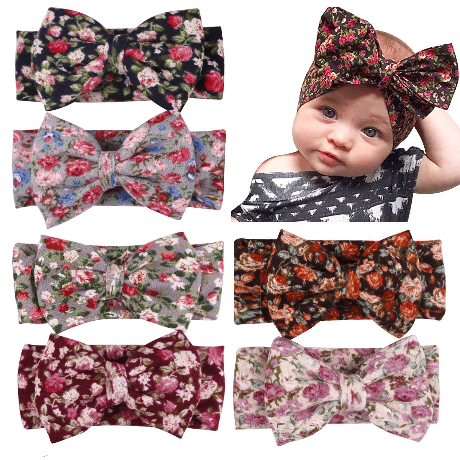 Enuo 6 Stück Baby Mädchen Neueste Turban Stirnband Kopf Haarband