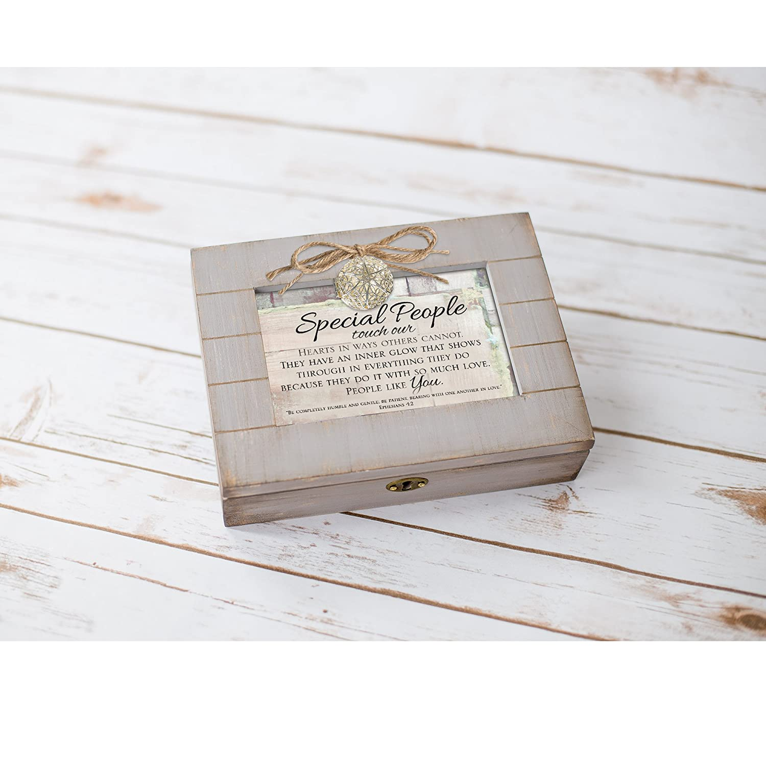 Cottage Garden Special People Touch Our Hearts Grey Distressed Locket Music Box Plays Amazing Grace
