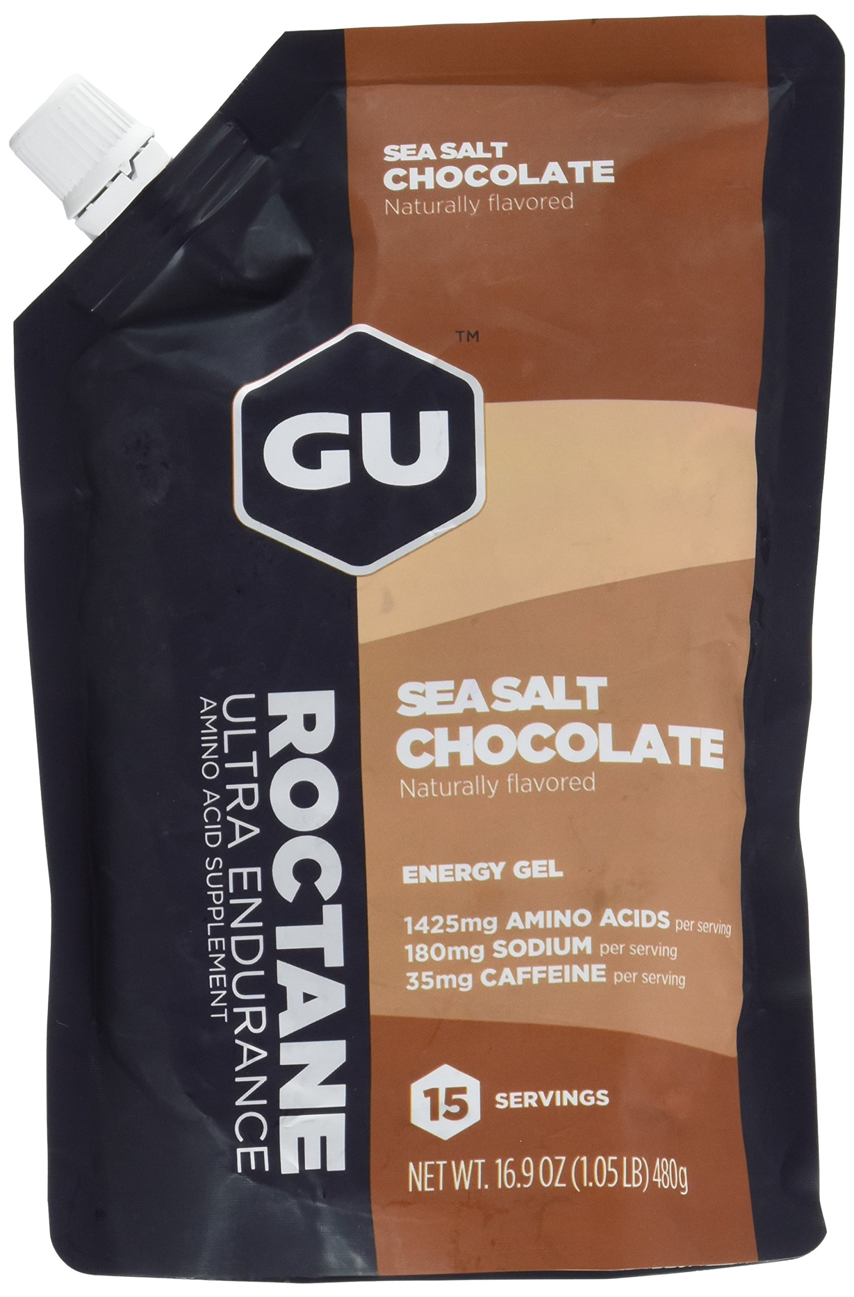 GU Energy Roctane Ultra Endurance Energy Gel, Sea Salt Chocolate, 15-Serving Pouch by GU Energy Labs