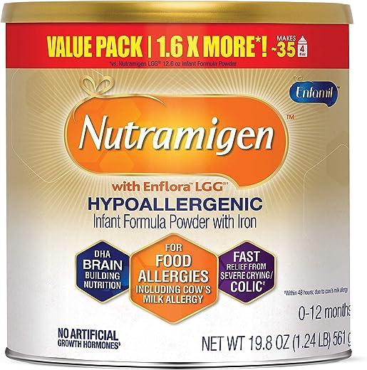 Enfamil Nutramigen Hypoallergenic Colic Baby Formula, Lactose Free Milk Powder, 19.8 Ounces...