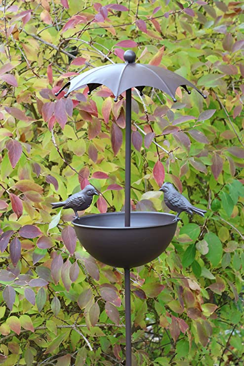 AmaCasa Bebedero para pájaros Aves Silvestres, con Varilla, Bebedero para pájaros y comedero. Color: marrón. Dimensiones: Aprox. 30 x 30 x 142 cm. Bebedero y comedero para casa y jardín.: Amazon.es: Jardín