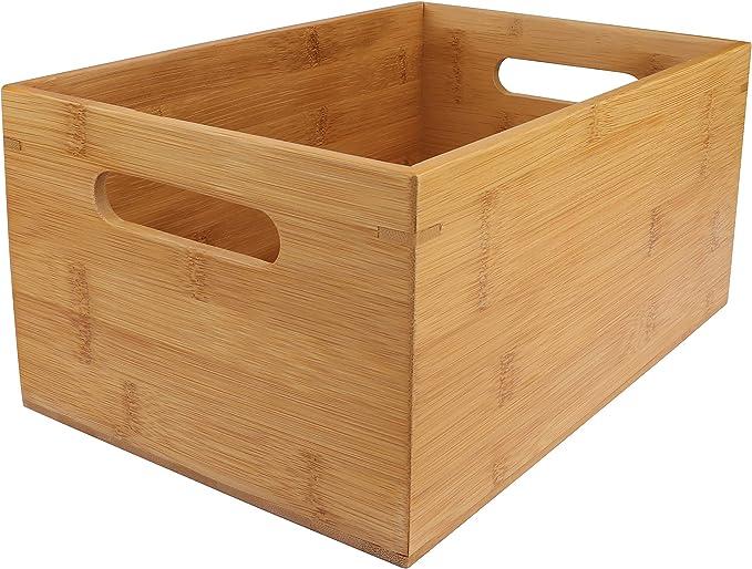 Cajon Madera Almacenaje - 30 x 20 x 14cm, Caja de Bambú con Asa para Organizar Alacena, Cocina, Despensa, Estantes - Caja de Madera Organizar: Amazon.es: Hogar
