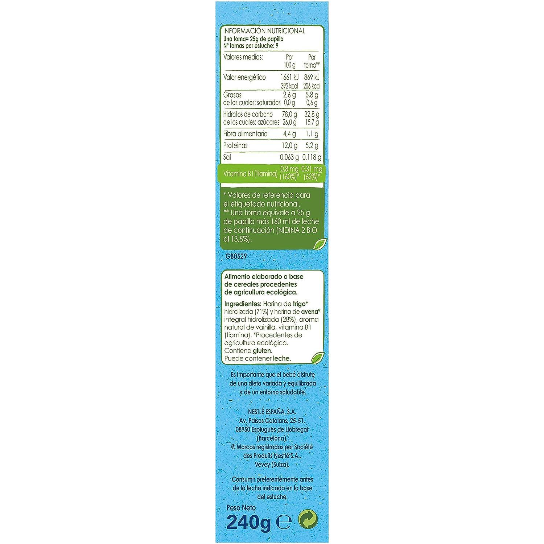 Nestlé Naturnes Bio - Papilla de cereales Trigo y Avena sabor Vainilla - Alimento Para bebés - 6x240g: Amazon.es: Alimentación y bebidas