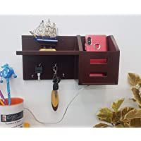 Onlineshoppee Wooden Key Holder Pocket with Shelf - (Brown)