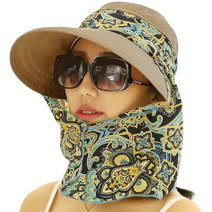 5bbec11af00 Lanzom Women Lady Wide Brim Cap Visor Hats UV Protection Summer Sun Hats  (Brown)