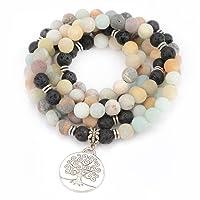 M&B Premium 10mm Mala Beads Bracelet Necklace Combo - 108 Mala Prayer Beads - Yoga Necklace - Zen Jewelry