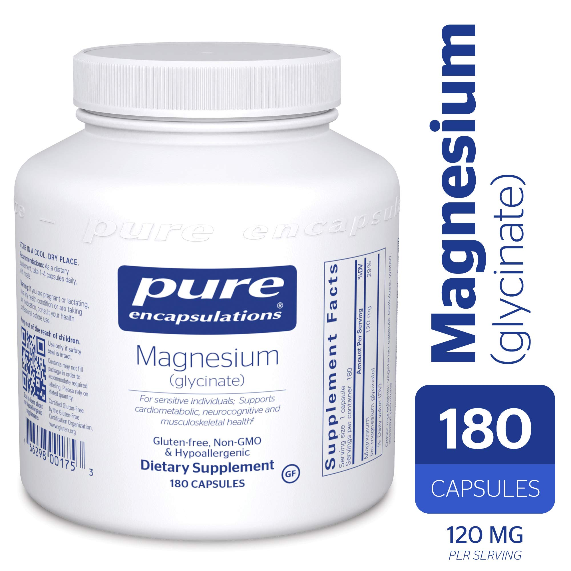 Pure Encapsulations - Magnesium (Glycinate) - Supports Enzymatic and Physiological Functions* - 180 Count by Pure Encapsulations