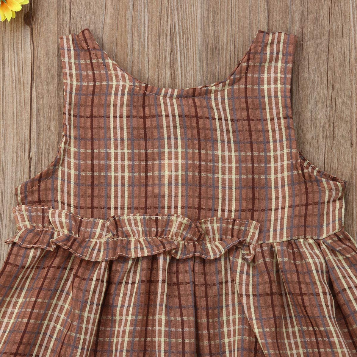Infant Kid Baby Girls Sleeveless Plaid Ruffled Dress Princess Tutu Dress Sundress Summer Outfit 6M-5Y