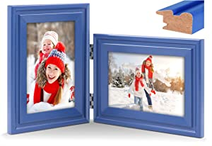 Vertical Horizontal Combo, Double 4x6 Royal-Blue Wood Hinged Picture Frame, Desk-top or Wall Mounted, Portrait and Landscape View (Glass Front Photo)