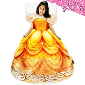 Blankie Tails Disney Beauty and The Beast Princess Belle Dress Wearable Blanket Super Soft-Double Sided Minky Fleece for Kids- Climb Inside This Cozy Princess Dress Blanket