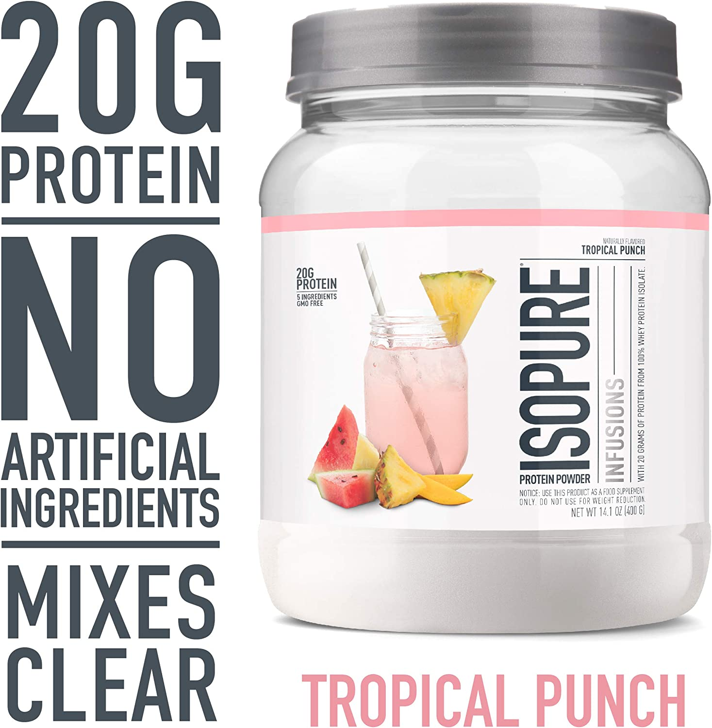 Amazon Com Isopure Infusions Refreshingly Light Fruit Flavored Whey Protein Isolate Powder Shake Vigorously Infuses In A Minute Tropical Punch 16 Servings Health Personal Care