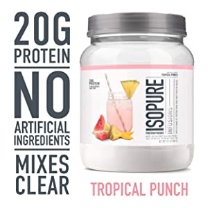 "ISOPURE INFUSIONS, Refreshingly Light Fruit Flavored Whey Protein Isolate Powder, ""Shake Vigorously & Infuses in a Minute"", Tropical Punch, 16 Servings"