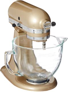 KitchenAid KSM155GBCZ Artisan Design Series Mixer With Glass Bowl, 5 Quart,  Champagne Gold