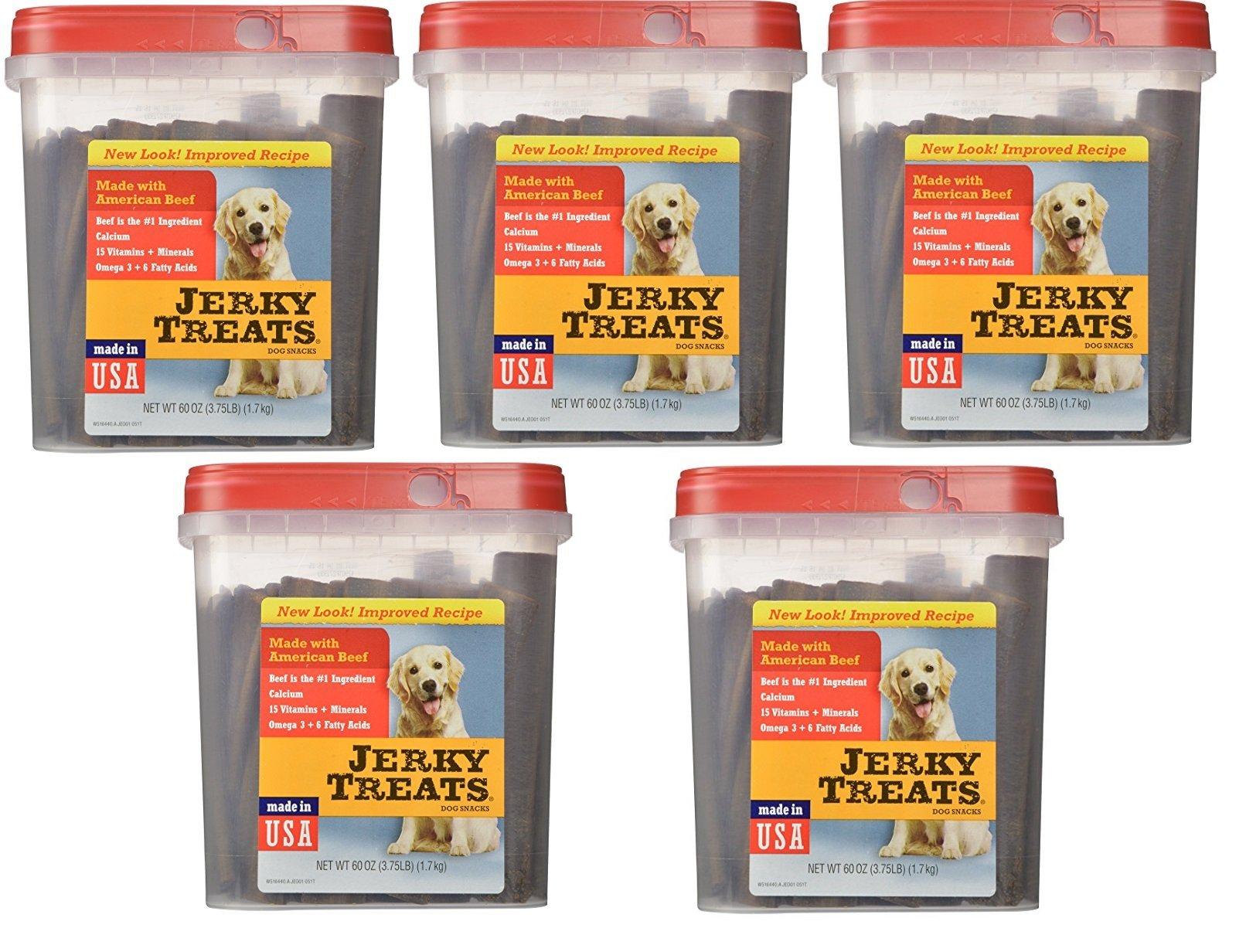 Jerky Treats Tender Beef Strips Dog Snacks, 60 oz, Large (5 Pack)