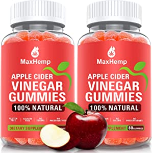 (2 Pack) 1,000mg Organic Apple Cider Vinegar Gummies with The Mother - ACV Gummy for Immune Support, Detox & Weight Loss - Vitmain B9, B12, Gluten-Free, Vegan, Non-GMO - for Adult & Kids