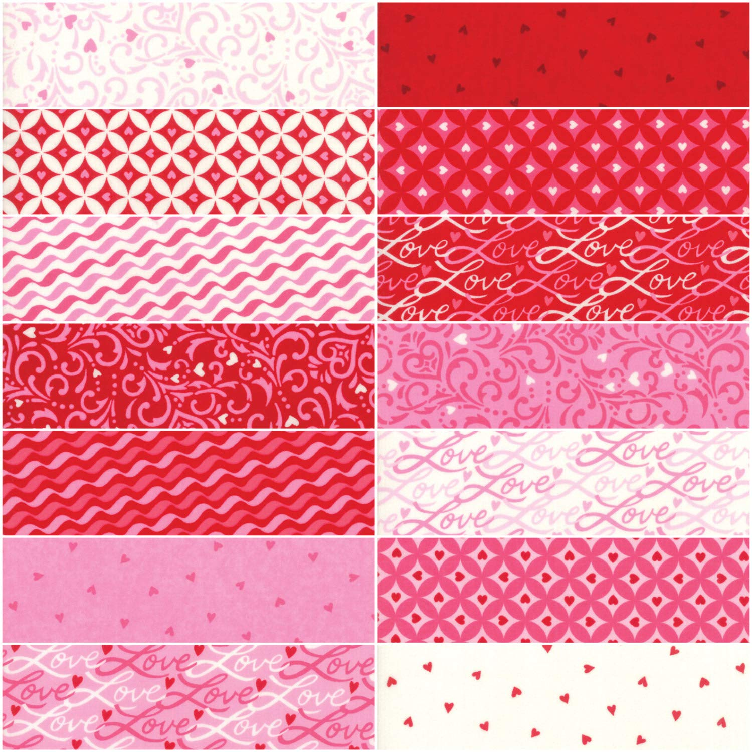 Assorted MODA Love Grows Charm Pack by Deb Strain; 42-5 Inch Precut Fabric Quilt Squares