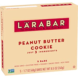 Larabar Gluten Free Bar, Peanut Butter Cookie, 1.7 oz Bars (5 Count), Whole Food Gluten Free Bars, Dairy Free Snacks