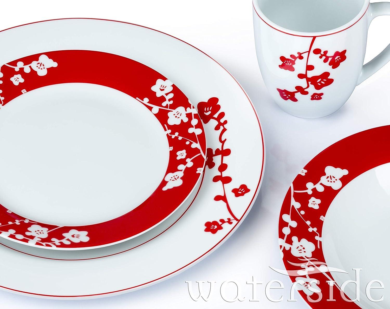24 stoviglie rosse e bianche con motivo festivo a fioritura Waterside