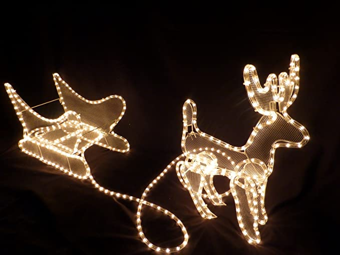christmas decorations light up reindeer and sleigh ropelight christmas decoration with led lights for outdoor or indoor use amazoncouk garden