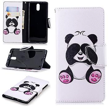BgkjZX Funda Nokia 3.1 2018 - Funda para Nokia 3.1 2018 Protector de Tarjeta con Tapa de Billetera de Cuero PU,Funda de Cuero Pintada a la Moda [Panda ...