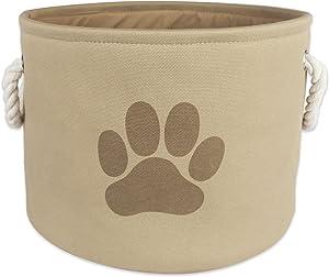 "Bone Dry Paw Print Collapsible Polyester Pet Storage Bin, Round Small - 12 x 12 x 9"", Paw Print Taupe"