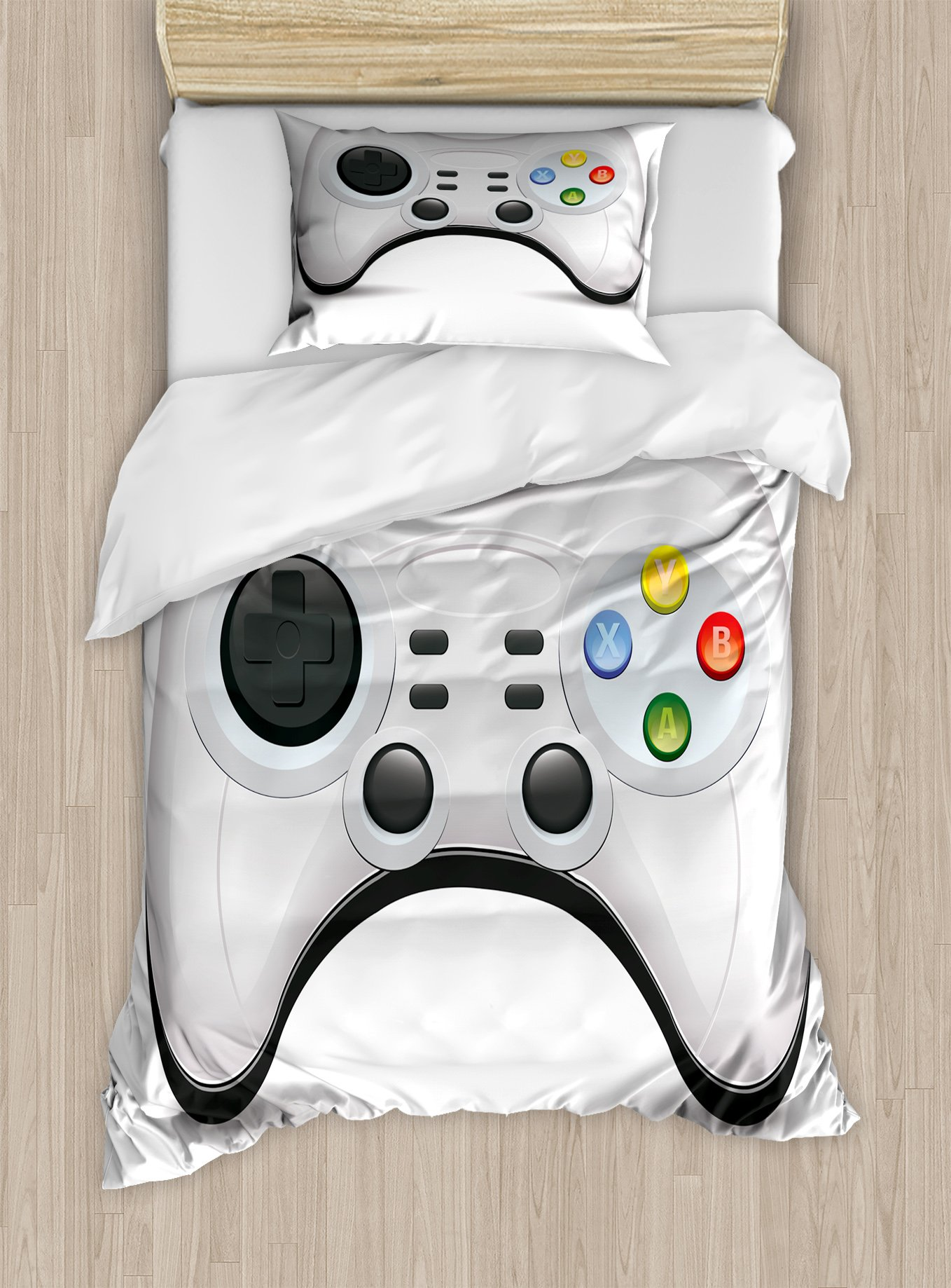 Lunarable Gamer Twin Size Duvet Cover Set, Modern Gamepad Concept Design with Colorful Action Buttons with Joysticks and D-Pad, Decorative 2 Piece Bedding Set with 1 Pillow Sham, Multicolor